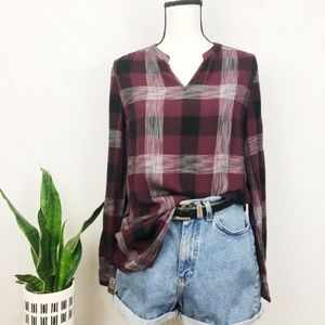 Como Vintage lightweight flannel plaid tunic S